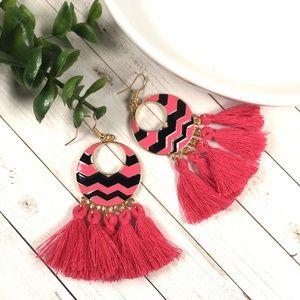 Jewelry - Chevron Tassel Dangle Earrings